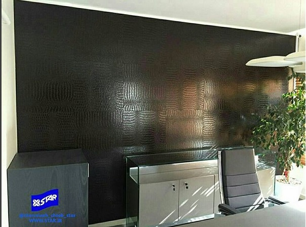 Using Charmineh Choob Star self-adhesive leather tiles in office interior design
