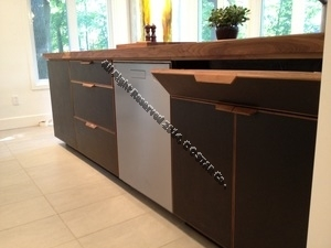 An idea to use leather covered sheets in kitchen cabinet
