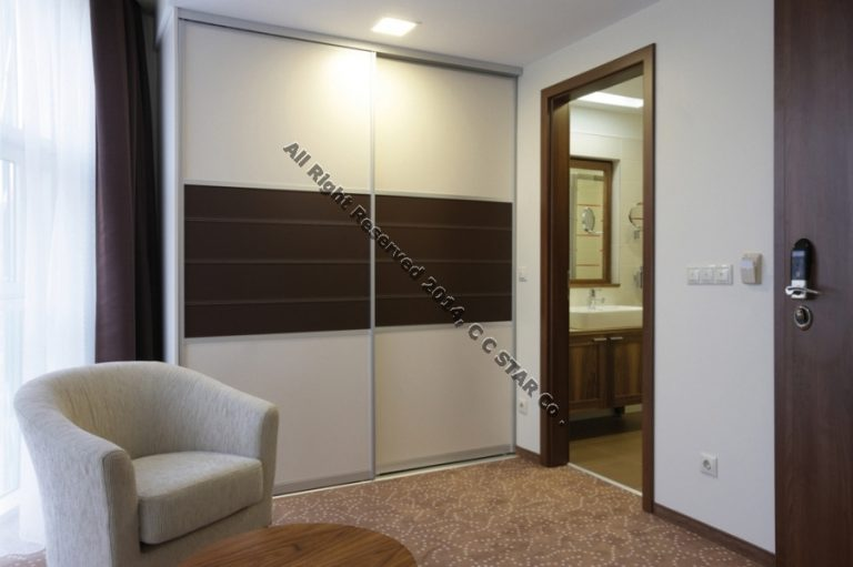 An idea to use leather covered sheet in closet door