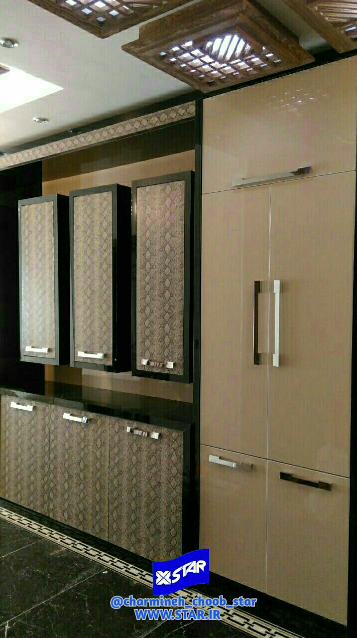 Use of Charmineh Choob Star leather covered sheets in kitchen cabinet