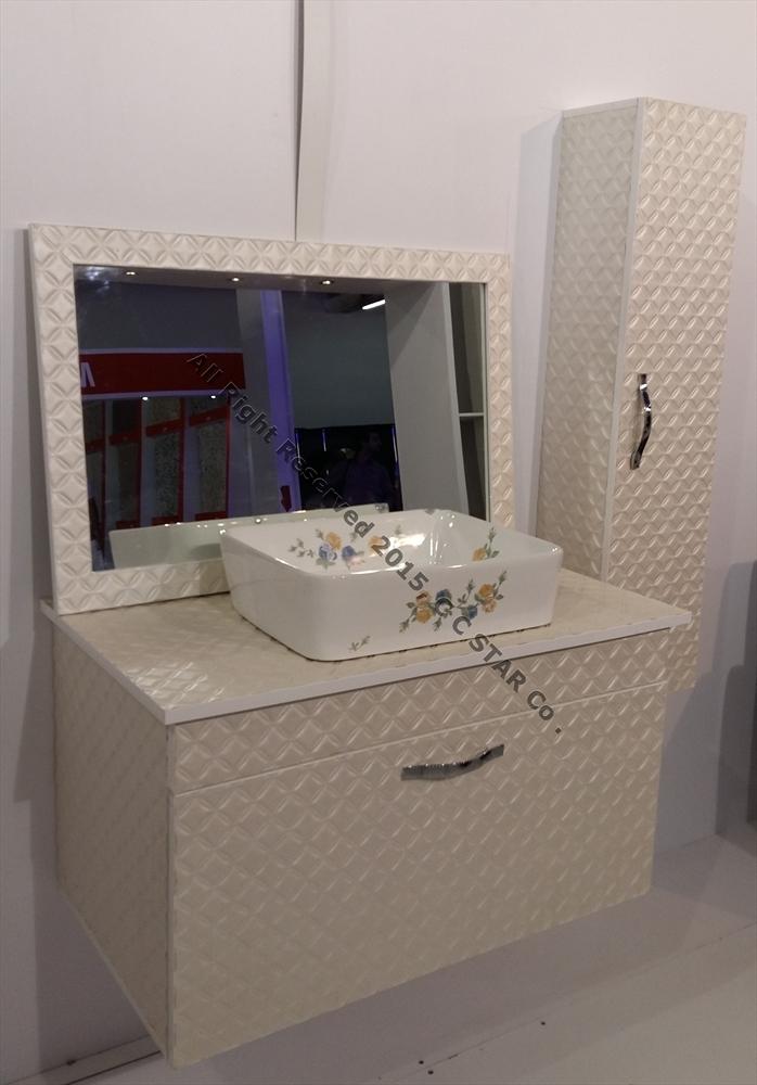 سرویس کابینت حمام ساخته شده با ورق روکش چرم چرمینه چوب استار